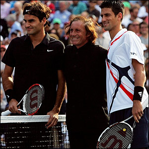 Roger Federer, Guillermo Villas and Novak Djokovic