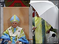 Pope Benedict addresses the crowd in Mariazell, Austria