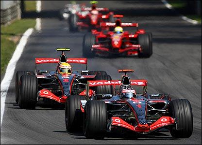 Fernando Alonso leads Lewis Hamilton