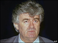 Indicted Bosnian Serb wartime leader Radovan Karadzic (file pic)