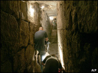 Israeli archaeologists in a drainage channel discovered next to Jerusalem's Old City