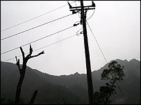 Electricity pylons erected