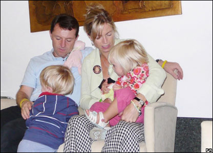 The McCann family wait for their flight at Faro Airport
