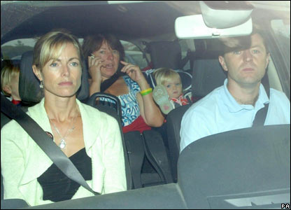 Kate and Gerry McCann on their way to Faro Airport