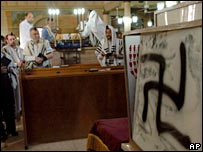 Worshippers in prayer shawls look at a swastika sprayed inside a synagogue in Petah Tikva in May 2006 (file picture)