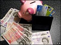 A piggybank for savings, disposable cash and credit cards