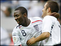 Shaun Wright-Phillips celebrates with Joe Cole after putting England ahead