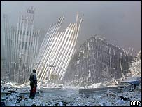 Man stands amid rubble of the World Trade Center, AFP/Getty