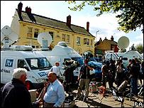 Satellite vans in Rothley