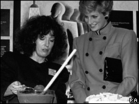 Dame Anita Roddick with the Princess of Wales in 1986