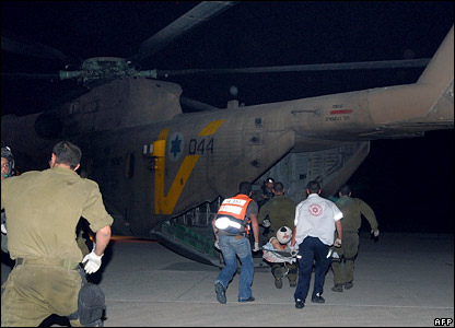 Wounded soldier being taken to hospital