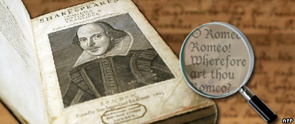 Graphic of first collection of Shakespeare's work and a magnifying glass