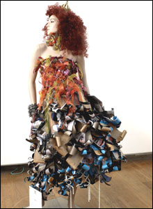 Mannequin wearing recycled clothes