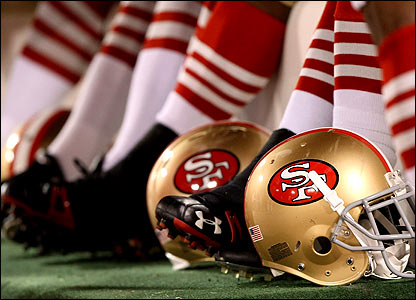 A general view of a San Francisco 49ers helmet