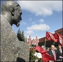 Russian Communist Party leaders at grave of Soviet secret police founder Felix Dzerzhinsky
