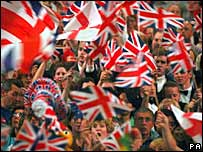 Flags are waved at the Last Night of the Proms in 2007