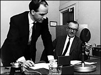 Vincent Duggleby and Angus MacKay from Radio 3's Sports Report in 1969