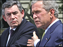 Gordon Brown and George Bush at Camp David in July, 2007.