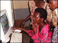 African women using a computer