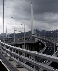 Shenzhen Bay Bridge, or the Hong Kong-Shenzhen Western Corridor, is seen in Shenzhen (file photo)
