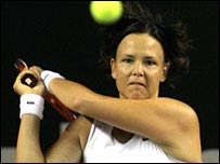 Lindsay Davenport in action in Bali.