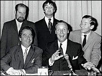 Clement Freud, Ian Messiter, Derek Nimmo, Nicholas Parsons and Kenneth Williams in Just A Minute in 1969