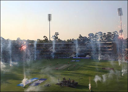 Fireworks at the Wanderers cricket ground in Johannesburg