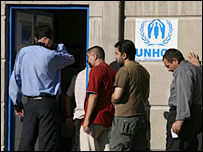 Iraqis queue at UNHCR centre in Damascus (photo Andrew North)