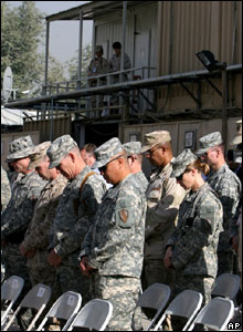 Troops stationed in Kabul, Afghanistan, mark the sixth anniversary of the attacks
