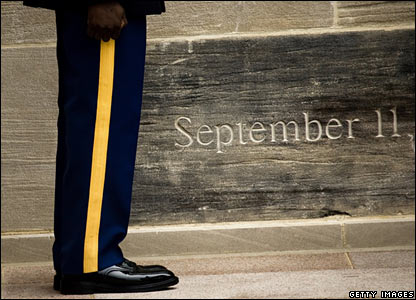 A soldier stands by a tribute to the 11 September 2001 attacks at the Pentagon