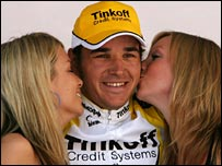 Nikolai Trusov celebrates his win in Somerset.