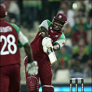 Chris Gayle hits out at the start of the South Africa innings