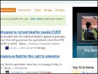 Screen grab of Digg's website