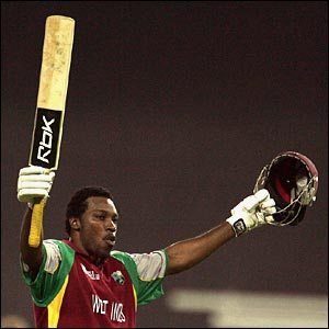 Chris Gayle celebrates his century against South Africa
