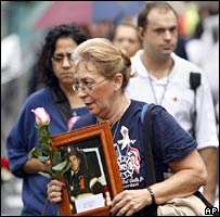 Relatives of those killed in the 9/11 attacks attend the anniversary ceremony