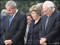 President George W and Laura Bush with VP Dick Cheney at the White House ceremony