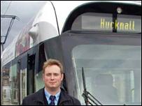 Rob Speht by a tram in Nottingham