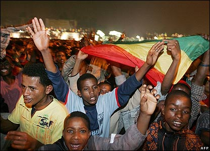 Young Ethiopians celebrating the Millennium