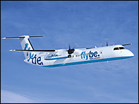 A Flybe Bombardier Q400 aircraft