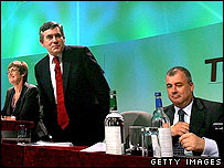 Gordon Brown at TUC conference with Brendan Barber (right)