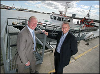 Fish docks chief executive Martyn Boyers (right) with Centrica offshore safety manager George Campbell  [picture by Dave Moss]