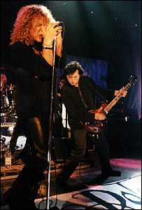 Robert Plant (left) and Jimmy Page in 1998