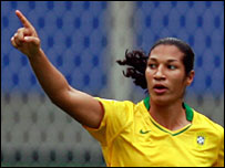Daniela celebrates after putting Brazil ahead against New Zealand