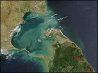 Satellite image of Ram Setu (Lord Ram's bridge)