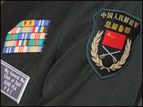 shoulder badge and medals on uniform of Chinese Major General