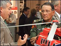 EADS eurocopter representative talking to a Malaysian general