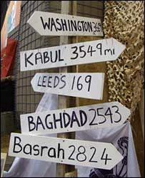 signs for Kabul, Baghdad and other towns at DSEI 2007