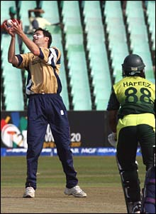 Mohammed Hafeez is caught for 18 by bowler Craig Wright in Durban