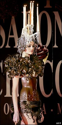 Model wearing outfit made of chocolate. Image: AFP/Getty