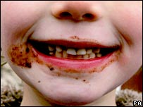 Child's mouth with chocolate. Image: PA